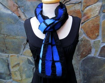 Nuno felt scarf, abstract line design in shades of blue
