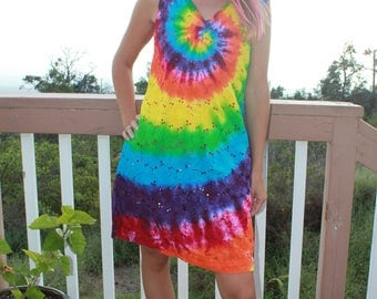 Tie Dye Tank Beach Cover Up Dress | Size M upcycled