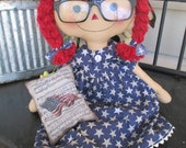 Patriotic Red Haired Raggedy with tuck
