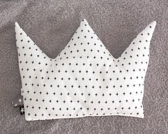 Crown Shaped Cushion, Kids Room Decor, Baby Bedding, Crown Decorative Pillow, Little Prince Crown, Swiss Cross Print