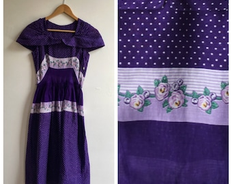 1950s Violet Cotton Voile Summer Dress, size small