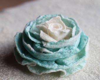 Rose Brooch, Felted Wool Jewelry, Wedding Flower Girl, Fabric Brooch, Mint Wedding Brooch, Rustic Jewelry For Her,Jewelry,Green Brooch