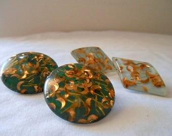 Vintage confetti clip on Earrings Lot