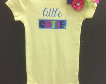 Girl Onesie & bow- little cutie