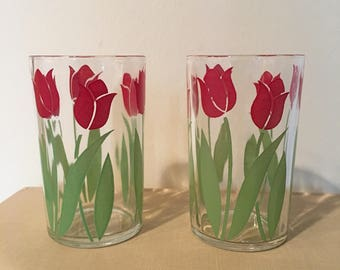 Antique Swanky Swigs Juice Glasses Colorful Red Tulip Pair