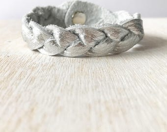 Braided leather bracelet - Silver