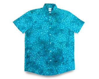 Mens Beach Shirt Blue, Mens Shirt Batik, Mens Resortwear, Mens Blue Shirt, Batik Mens Shirt