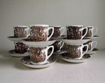 Meakin Ironstone Transferware Cups & Saucers , Romantic England by J G Meakin England , Vintage Brown Transferware , Replacement China