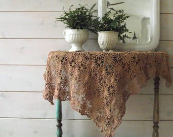 Crochet Table Scarf , Hand Crocheted Doily , Square  Crochet Tablecloth , Beige Cotton Crochet Table Topper , Farmhouse Decor , Cottage Chic