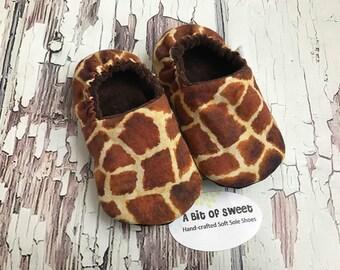Ready to Ship Giraffe Print Soft Sole Shoes