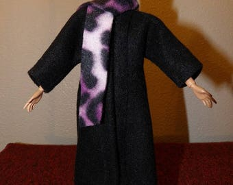 Stylish solid black Fleece long coat & purple Leopard scarf for Fashion Dolls - ed1043
