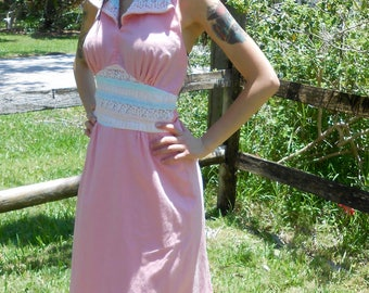 Vintage 1960s UNION MADE pink cotton & lace maxi halter dress, size Small / Medium