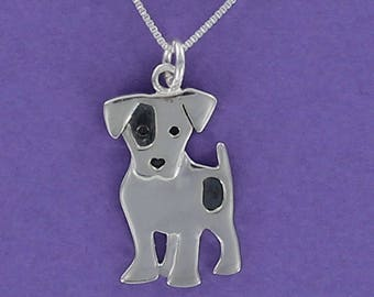 Jack Russell Terrier Pendant - 925 Sterling Silver on Custom Gift Card