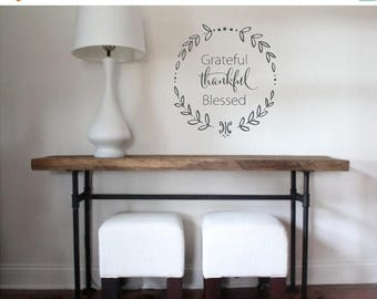 20% OFF Grateful Thankful Blessed- faith Vinyl Lettering wall decal words decal family custom graphics decals bedroom Home decor itswritteni