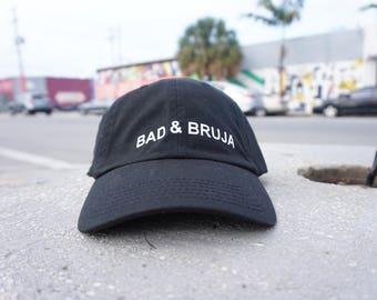Bad & Bruja Black Baseball Hat / Dad Hat  / Unconstructed / Designed by GAG THREADS