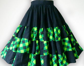 Black and Green Tartan Patchwork 50s Swing Skirt Rockabilly Full Circle Skirt Party Skirt Pin Up Clothing