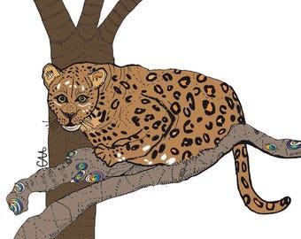leopard illustration art print