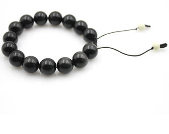 12mm Obsidian Gem Tibet Buddhist Prayer Beads Mala Bracelet S031
