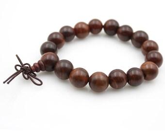12mm Rosewood Wood Tibet Buddhist Prayer Beads Mala Bracelet  M029