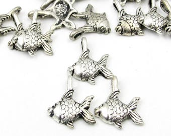 30Pcs Alloy Metal Ocean Fish Pendant Beads Finding  ja0097