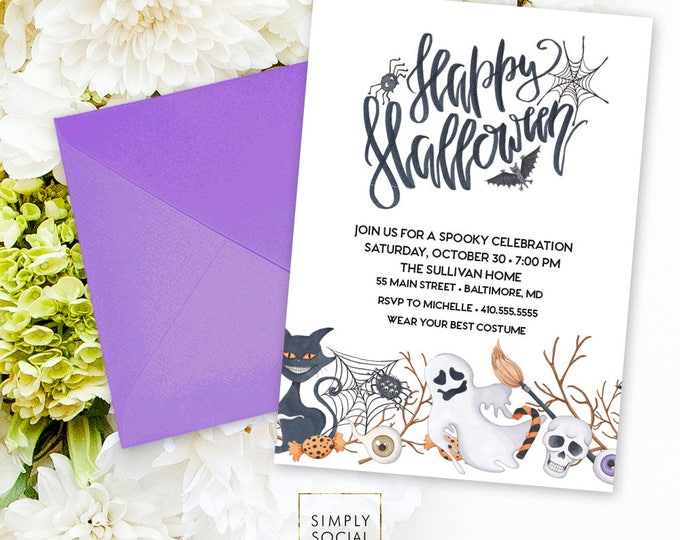 Halloween Party Invitation - Ghost Invitation Goblin Black Cat Invitation Spider Web Spooky Invitation Scary Invitation Printable