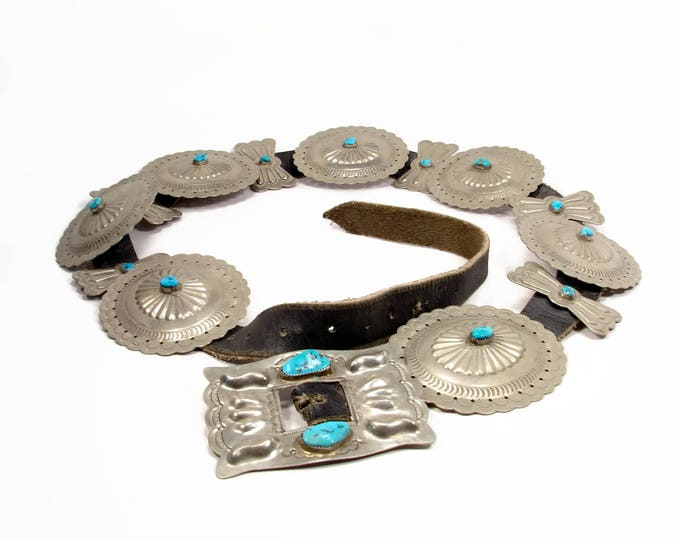 1940s Navajo Nickel Silver & Turquoise Concho Belt