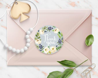 Thank You stickers, Vintage Blue Floral Watercolor Wreath, Round Cut Sticker for Etsy Sellers, Wedding, Party, Matte Lamination Finish