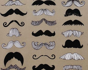 50% off SALE - Alexander Henry - Where's my Stache - Taupe Cotton Quilting Fabric - BTY