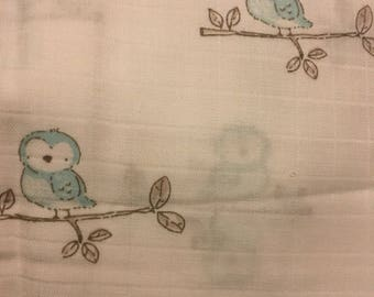 Blue Pastel Owls on a branch - Fabric -3 yards