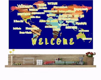 Welcome Wall Decals, International Languages, World Map Wall Decal, School office decor, Library Welcome Sign, Language school decor