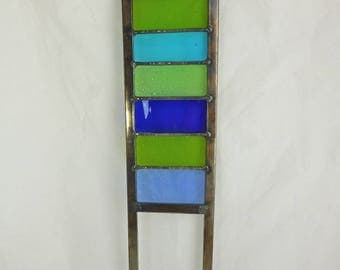 Stained Glass Garden Ornament / Architectural Panel in Blues and Greens – 58 x 11 cm