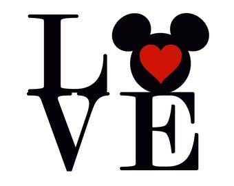 Mickey LOVE Vinyl Decal Sticker