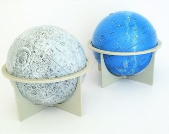 Vintage Globes Moon and Celestial Globe Duo Celebrate the Solar Eclipse