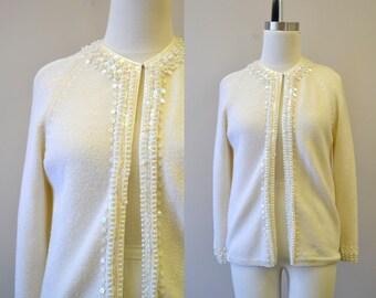 1960s Cyn Les Beaded Cardigan Sweater