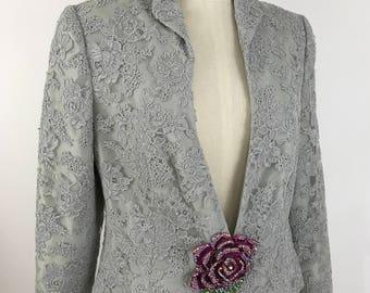 Vintage Light Grey Lace Blazer/Jacket/Lace Jacket/Lace Blazer/ Blue Grey Lace