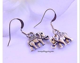 Bohemian Elephant Earrings, Elephant Dangle Earrings, 925 Sterling Sliver Ear Hooks, By; VonDez Redman, Tranquilityy