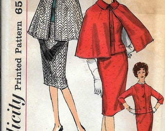 Vintage 1960s Simplicity 4132 Dress Suit And Cape Slim Skirt Sewing Pattern Size 16 Bust 36