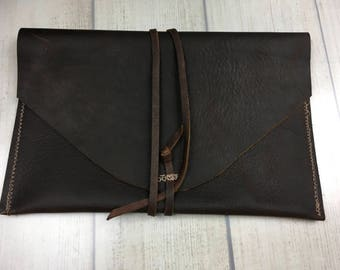 Brown distressed leather Art pouch