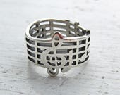 Vintage Sterling Silver Retired James Avery Amazing Grace Ring Wide Band Size 5-1/2