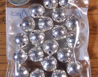 20 Sterling Silver Bench Beads 10mm with Raised Seam Lot of 20