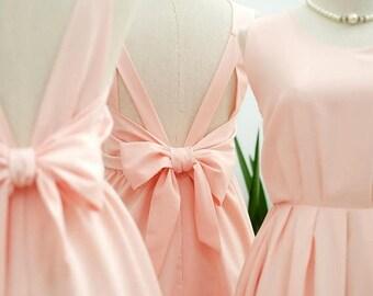 Flash SALE Pink blush dress Pink party dress Pink prom dress Pink cocktail dress bow back dress Pink blush bridesmaid dresses Pink dress