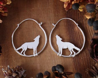 Wolf Hoops Sterling Silver Hoops Small Everyday Earrings Hoop Earrings Wolf Earrings Jewelry Howling Wolf Sterling Silver Wolf Pup Nature