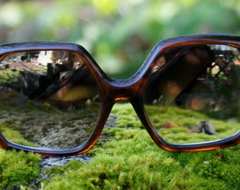 1960's Large Tortoise Shell Mirrored Sunglasses
