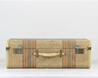 Vintage Suitcase, Old Suitcase, Striped Suitcase, Tweed Suitcase, Luggage, Old Luggage, Vintage Luggage, 1940's Suitcase, Antique Suitcase