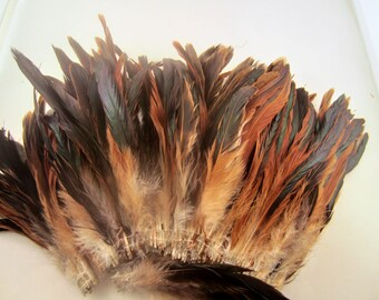 Natural half bronze loose Schlappen half bronze 6 to 8  inches  craft feathers saddle feathers