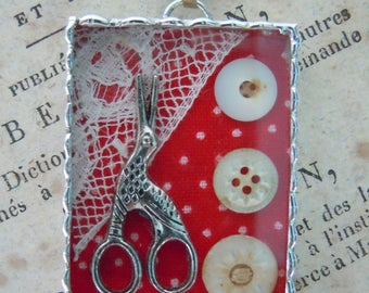 Fiona & The Fig - Shadowbox - Victorian Sewing Charm - Soldered Charm - Necklace - Pendant-Jewelry