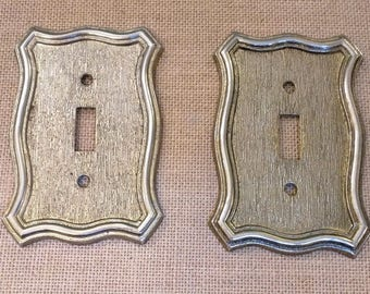 Vintage Brass Light Switch Plates Set of 2 American Tack Hardware 1968