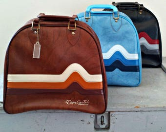 Vintage Bowling Bag - Rockabilly Blue Pleather Bowling Bag with Heart Beat Stripes - Excellent Condition