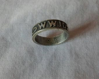 """Signed Sterling Silver WWJD Ring - """"What Would Jesus Do"""" - Fish - Size 5"""