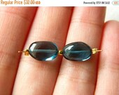 15% off SALE OOAK Stunning Extraordinary Matched pair of AAA London Blue Topaz naturally formed smooth nuggets beads 11mm x 7mm